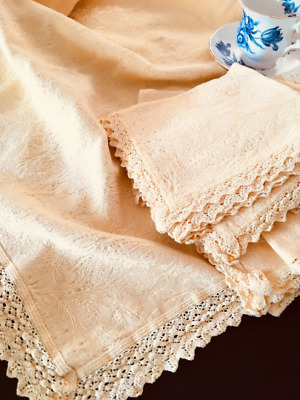 Vintage Yellow Cotton Damask Tablecloth with Napkins