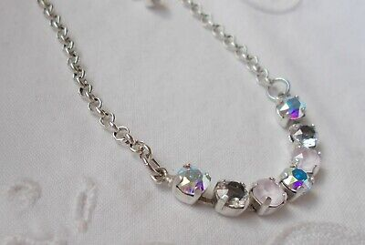 6mm Cup Chain CRYSTAL/ANTIQUE SILVER FINISH NECKLACE/CHOKER~Swarovski Crystals