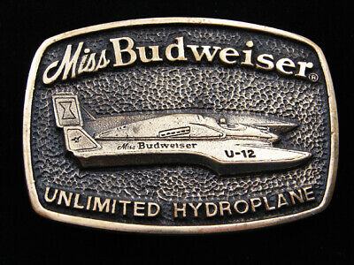 RD11152 VINTAGE 1970s **MISS BUDWEISER UNLIMITED HYDROPLANE** SOLID BRASS BUCKLE