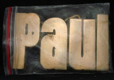 SA10167 **NOS** VINTAGE 1970s/80s CUT-OUT NAME ***PAUL*** SOLID BRASS BUCKLE