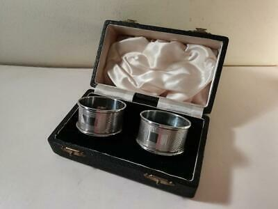 A Boxed Pair of Art Deco Style Silver Napkin Rings : Birmingham 1956