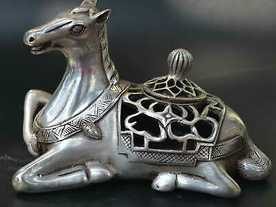 AAA Collect Decorate Tibet Silver Carve Lying Horse Statue Big Incense Burner