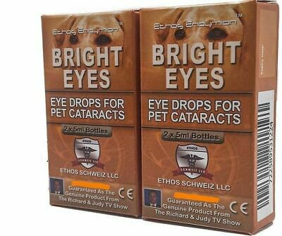 Eye Drops for Dogs Cataracts Ethos Bright Eyes  for Dogs and Pets 2 Boxes 20ml