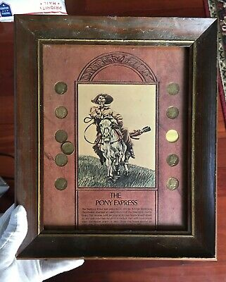 Pony Express Mercury Dime Coin Silver Collection Wood Framed from Estate Auction
