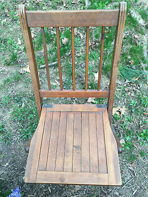 Antique Vintage Americana Wooden Folding Chairs with wooden Seats