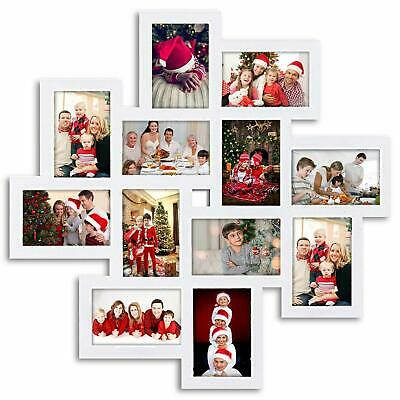 Modern White 12 Photo Collage Square Storm Eye Wall PVC Picture Frame Gallery
