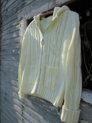 Vintage 70s 80s girls sweater cream white cable knit hooded cardigan sz L 14 16