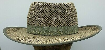 27c97ab532a70c Columbia Seagrass Panama Style Straw wide brim Hat Unisex size S/M  Gardening Sun