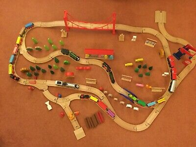 WOODEN TRAIN SET 100+Track Bridges Engines Buildings compatible Brio Bigjig ELC