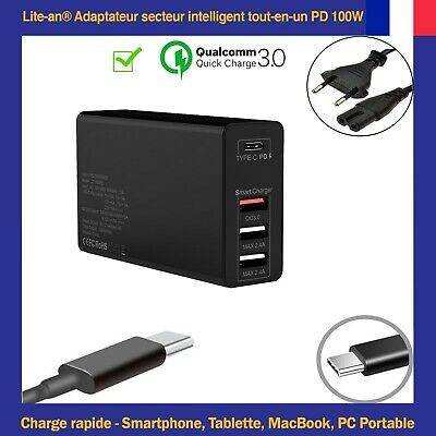 Chargeur USB Type C PD QC3.0 (Charge Rapide) 18W / 30W / 45W / 61W / 65W / 87W