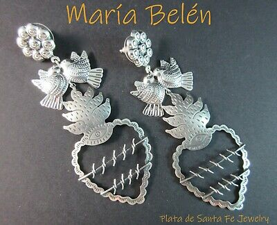 "María Belén~ Flaming Sacred Heart with Wire ""Thorns"" ~Oxidized Dove 925 Earrings"