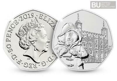 2019 Paddington Bear at the Tower of London 50p UK Coin On A Blue Hologram Lst 3