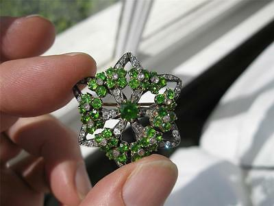 5 CT Demantoid Garnet 60 Diamond Victorian 14K Gold Brooch c1880 Museum Quality