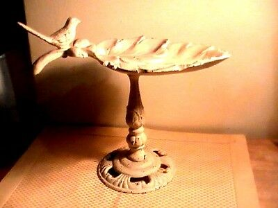 "Fancy Antique Victorian Cast Iron Bird Feeder Birdbath Dove & Acorns 11"" By 13"""