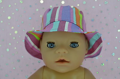 """Play n Wear Doll Clothes To Fit 17"""" Baby Born MULTI STRIPE DRILL SUN HAT"""