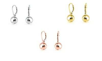 Delicate 0.65 cm Drop Ball Leverback Earrings - 14K Gold Plated ITALIAN MADE