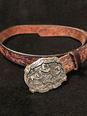 Vtg Great American Buckle Co Gunfight OK Corral Brass Buckle Tool Leather Belt