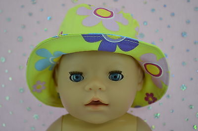 """Play n Wear Doll Clothes To Fit 17"""" Baby Born YELLOW/FLOWER DRILL SUN HAT"""