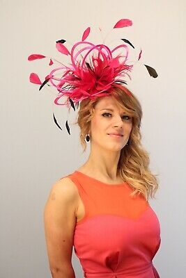 Hot Pink & Black Fascinator Hat Headband/Choose any satin/feather colour