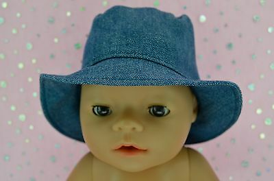 """Play n Wear Doll Clothes To Fit 17"""" Baby Born DENIM SUN HAT"""