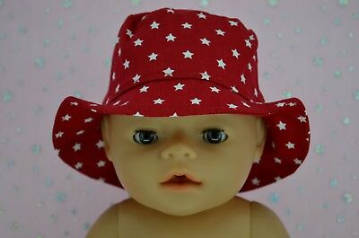 """Play n Wear Doll Clothes To Fit 17"""" Baby Born RED/STAR DRILL SUN HAT"""