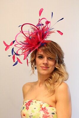 Hot Pink & Royal Blue Fascinator Hat Headband/Choose any satin/feather colour
