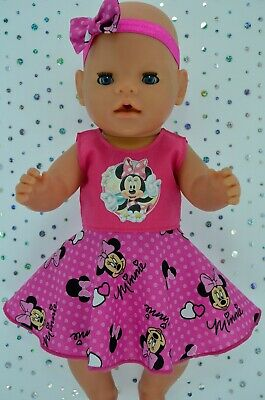 """Play n Wear Dolls Clothes For 17""""Baby Born HOT PINK CIRCLE DRESS~HEADBAND"""