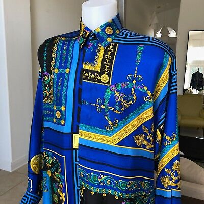 vintage V2 by VERSACE blue & black cotton shirt Barocco & Floral size III / M