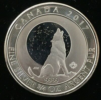 CANADA 2017 WOLF MOON 3//4 Oz SILVER COLOR MINTAGE 100 PCS COA small damage