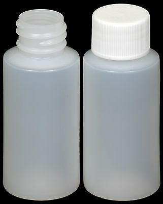 Plastic Bottle (HDPE) w/White Lid, 1-oz. 25-Pack, New