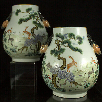 Rare JIAQING PERIOD MARK Pair of Chinese porcelain vases urns 100 DEER Republic