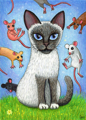 Flying Mice ACEO HANDMADE ORIGINAL PAINTING Siamese Cat Mouse Animals Art ATC