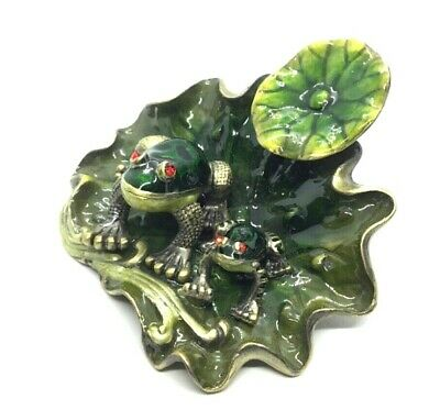 FROG & BABY on Lily Pad Hinged Enamel Painted Trinket Box Jeweled with Crystals.