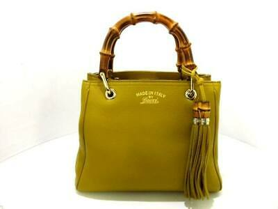 a4418228ac6 Auth GUCCI Bamboo Shopper Leather Tote 336032 Mustard Leather Tote Bag