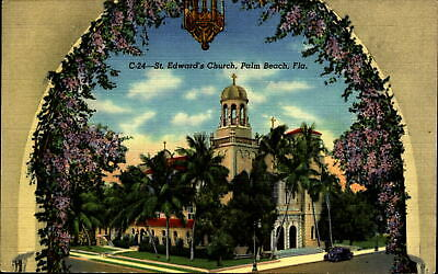 St Edward's Church ~ Palm Beach Florida FL ~ unused 1950s linen postcard