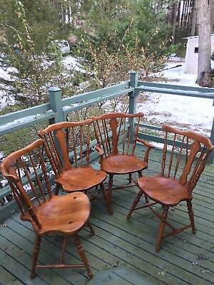 CUSHMAN COLONIAL Hard Rock Maple Colonial Style Dining Chairs - Antique Set(4)