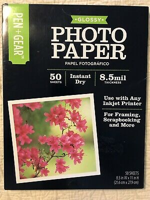 Pen+Gear Glossy Photo Paper 50 Sheets 8.5mil Thickness 8.5 in x 11 in