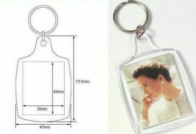 Clear Acrylic Plastic BLANK KEY RINGS 45 x 35 mm Insert  PASSPORT PHOTO SIZE