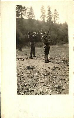 WWI era US Army soldiers in uniform with rifles ~ RPPC real photo postcard