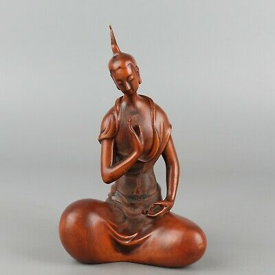 Chinese Exquisite Hand-carved figure Carving Boxwood statue
