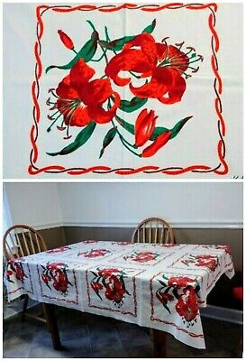 Vintage STARTEX Tablecloth Red Lily Lilies 64 x 52 Unused Condition. Rare