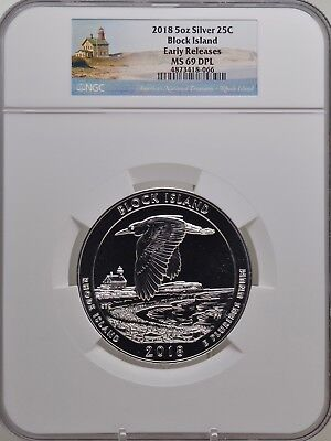 2018 5oz SILVER 25C Block Island NGC MS 69DPL Early Releases must see!