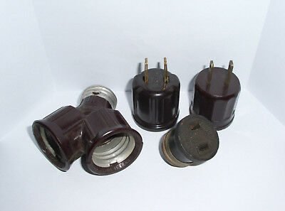 Vintage Bakelite Lights Sockets Eagle Hubbell Electrical Outlet Converters Plugs