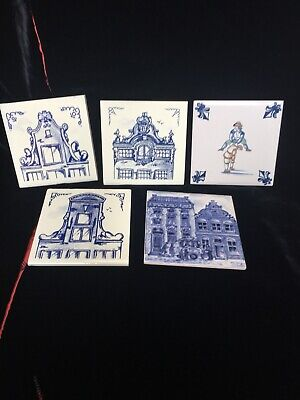 KLM Business Class Coasters Dutch Delft Blue And White Tiles