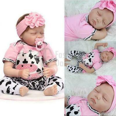 "22"" Real Lifelike Soft Silicone Reborn Doll Baby Girl Sleeping Newborn Dolls KRT"