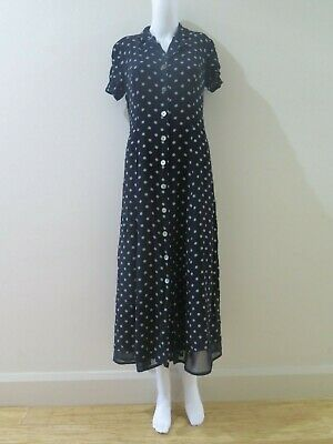 Vintage 90's long button up dress black with white polka dots 12