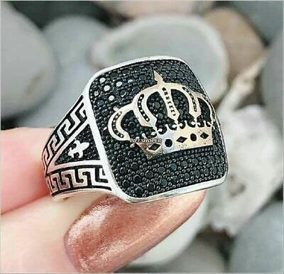 Turkish 925 Silver Special black onyx stone mens man ring King's Crown Size 6-10