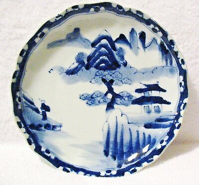 "Japanese Antique Porcelain Blue White Plate ""Golden Pavilion"" Theme - Arita"
