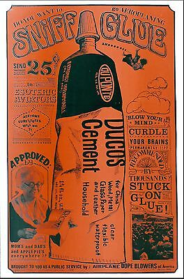 """Sniff Glue Original """"Dope"""" Poster - New Old Stock from Original Publisher 1967"""
