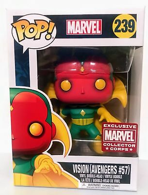 Funko Pop! Marvel Collector Corps Exclusive Vision #239 The Avengers w/Protector